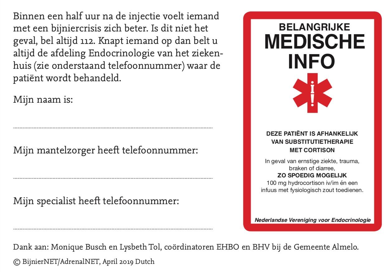 Medische informatie kaartje